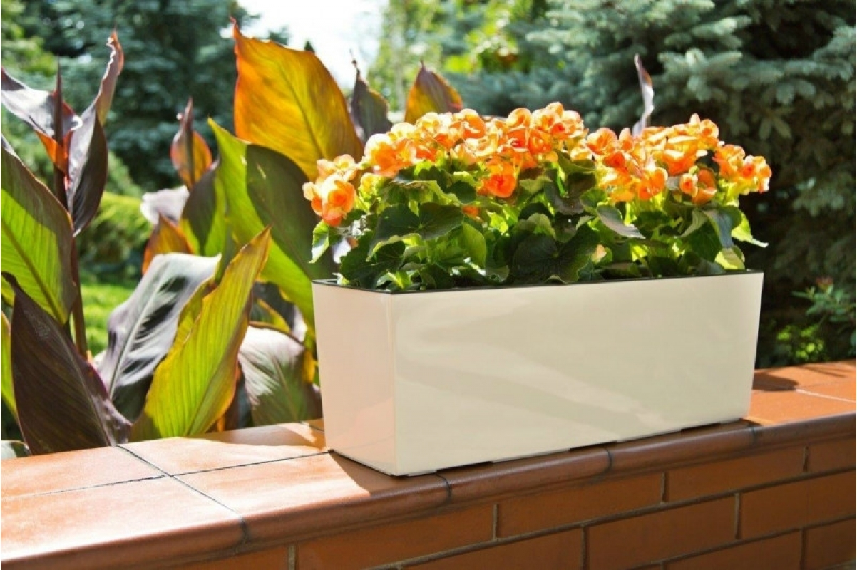 Кашпо Lamela Begonia белое глянец 56 x 19 x 19 см - Фото 2