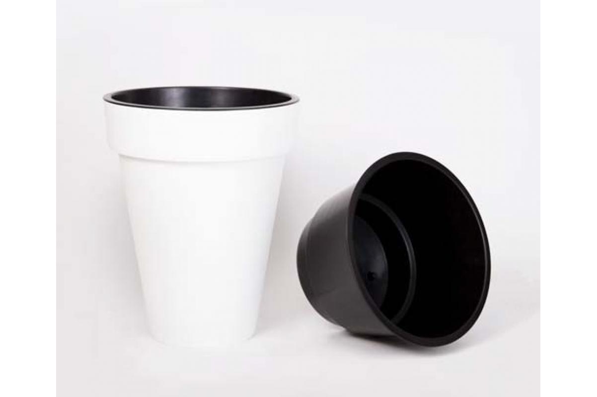 Кашпо пластиковое с контейнером Куби Слим матовое белое