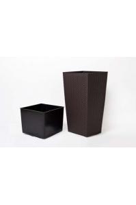 Кашпо пластиковое с контейнером Ротанг коричневое (Размер (Д x Ш x В), см:32 x 32 x 61) (Размер (Д x Ш x В), см:32 x 32 x 61)