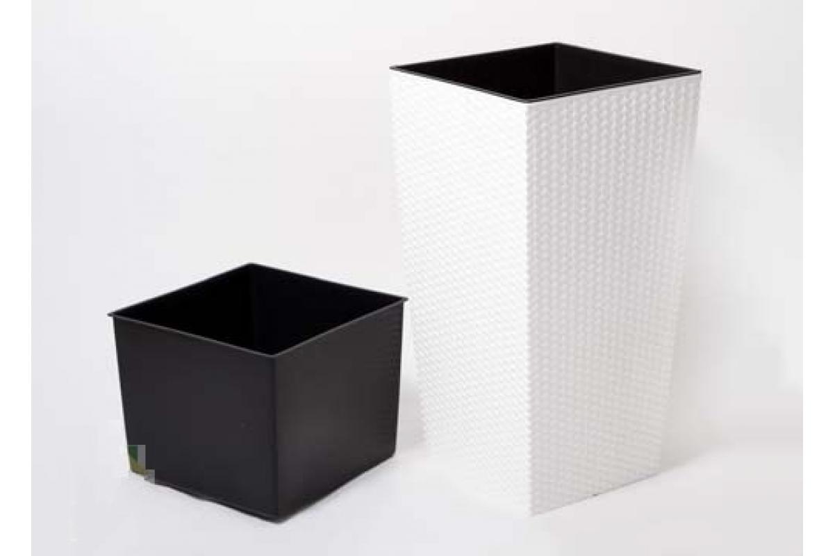 Кашпо пластиковое с контейнером Ротанг белое