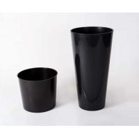 кашпо пластиковое с контейнером Тубус Слим глянцевое антрацит