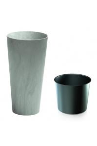 Кашпо пластиковое с контейнером Тубус Слим меланж серое