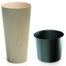 Кашпо пластиковое с контейнером Тубус Слим меланж бежевое