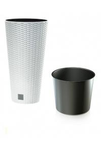 Кашпо пластиковое с контейнером Ротанг Tubus белое