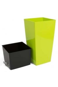 Кашпо пластиковое с контейнером URBI SQUARE лайм