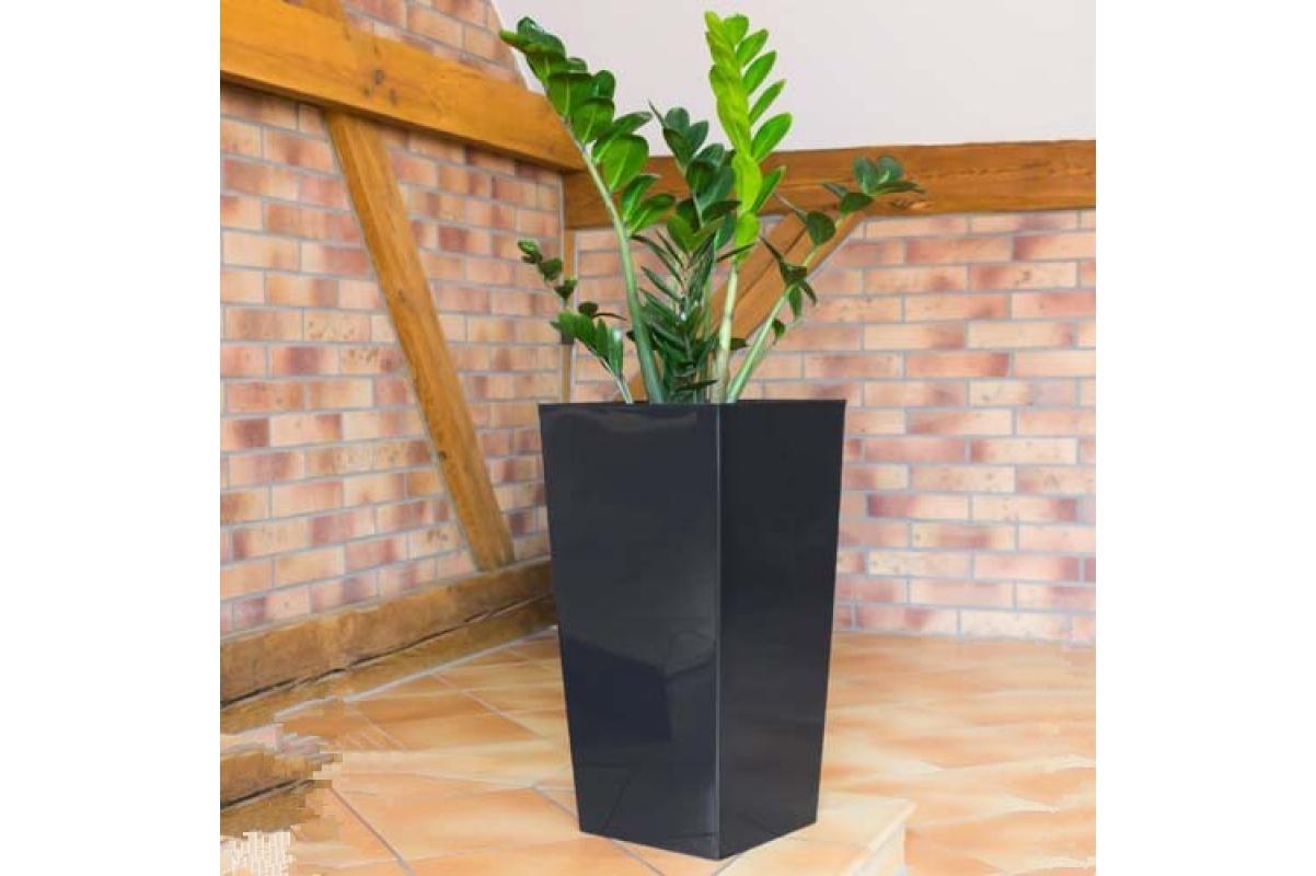 Кашпо пластиковое с контейнером URBI SQUARE антрацит - Фото 2