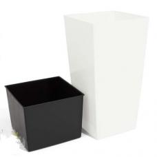 Кашпо пластиковое с контейнером URBI SQUARE белое