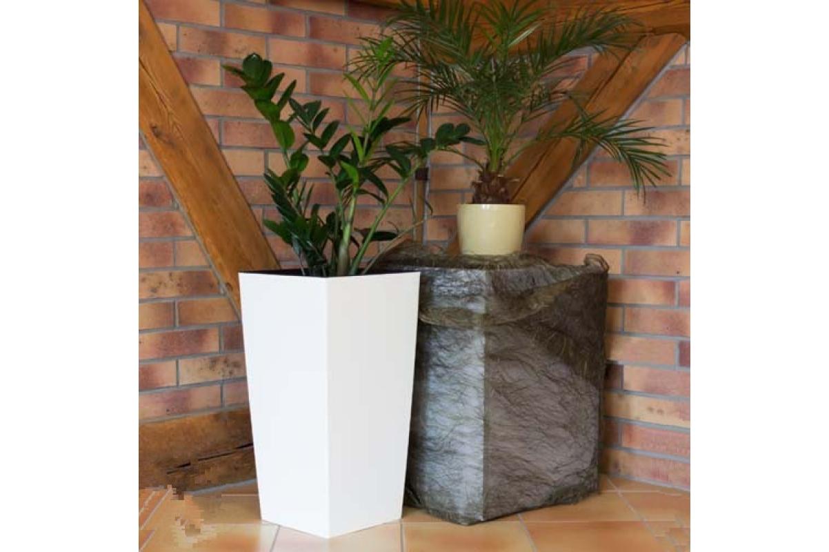 Кашпо пластиковое с контейнером URBI SQUARE белое - Фото 2