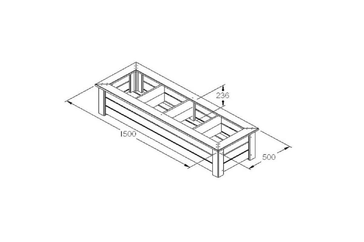 Кашпо деревянное Bamburgh 150 x 50 x 24 см - Фото 2