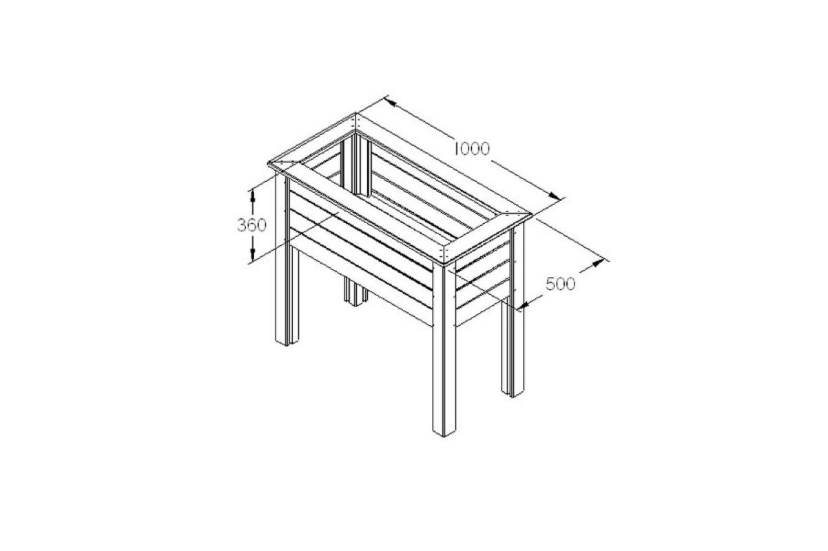 Кашпо деревянное Planter Table 100 x 50 x 80 см - Фото 2