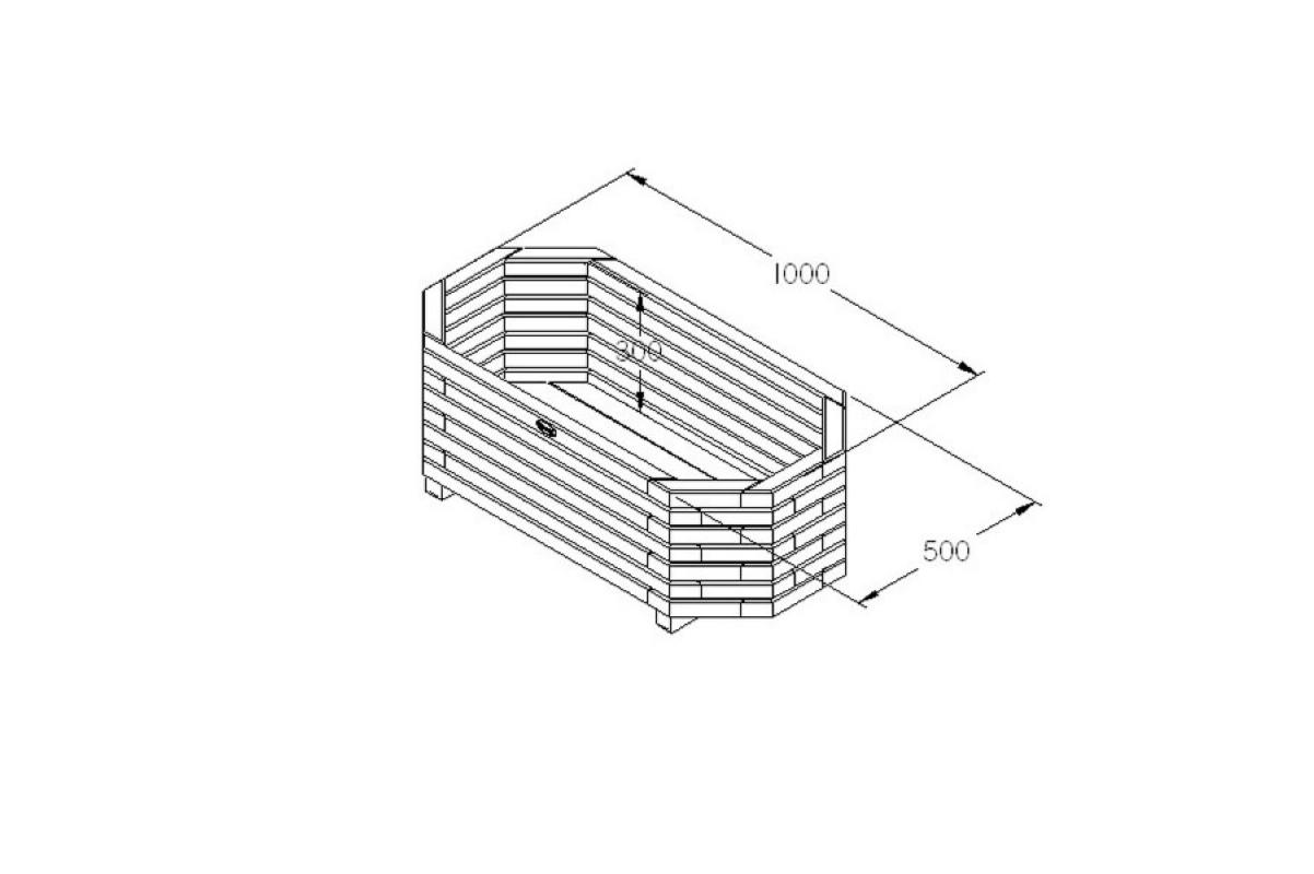 Кашпо деревянное Richmond 100 x 50 x 30 см - Фото 2
