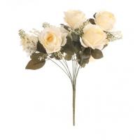 Цветочная композиция из чайных роз бежевая 50 см