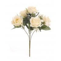 Цветочная композиция из чайных роз бежевая 29 см