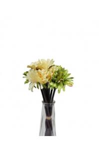 Букет хризантем искусственный зелено-желтый 7 цветков 27 см