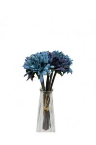 Букет хризантем искусственный голубой 7 цветков 27 см