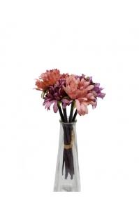 Букет хризантем искусственный розово-фиолетовый 7 цветков 27 см