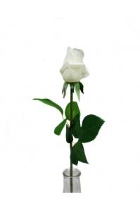 Роза белая полузакрытый бутон 56 см (Real Touch)