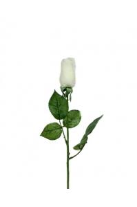 Роза белая бутон искусственная 43 см (Real Touch)