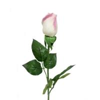 Роза белая с оттенком розового бутон искусственная 43 см (Real Touch)