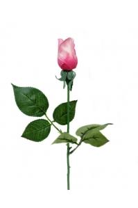 Роза светло-розовая бутон искусственная 43 см (Real Touch)