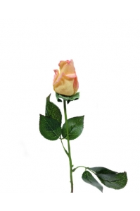 Роза желтая с розовым оттенком полузакрытая искусственная 46 см (Real Touch)