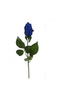 Роза синяя полузакрытая искусственная 46 см (Real Touch)