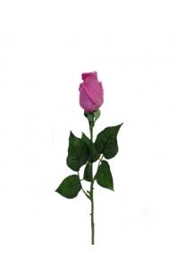Роза темно-розовая полузакрытая искусственная 46 см (Real Touch)
