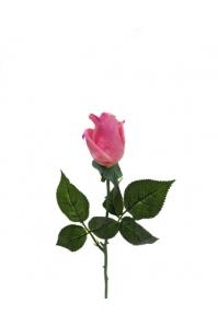 Роза светло-розовая полузакрытая искусственная 46 см (Real Touch)