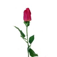 Роза розовая полузакрытая искусственная 46 см (Real Touch)