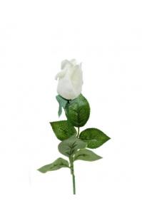 Роза белая полузакрытая искусственная 46 см (Real Touch)
