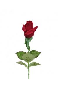 Роза бордовая полузакрытая искусственная 46 см (Real Touch)