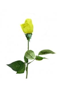 Роза желтая полузакрытая искусственная 46 см (Real Touch)