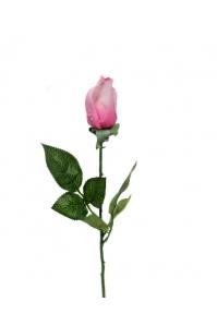 Роза розовая со светлым оттенком полузакрытая искусственная 46 см (Real Touch)