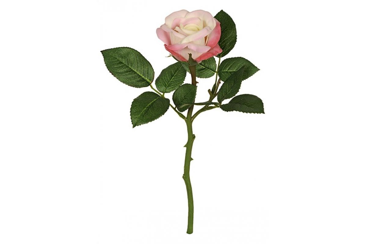 Роза Вирджиния искусственная розово-кремовая 30 см