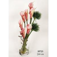 Композиция из 7 Калл искусственных розово - белых 64 см