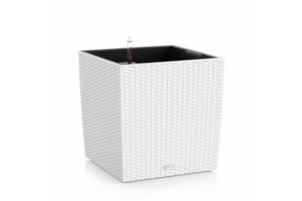 Кашпо Lechuza Cube Cottage Белое Плетеное