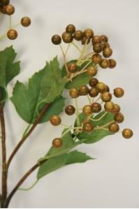 Ветка с ягодами калины искусственная зеленая 79 см