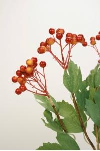 Ветка с ягодами калины искусственная оранжевая 79 см