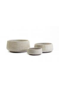 Кашпо Treez Ergo Cork круглое низкое белый песок от 31 до 54 см