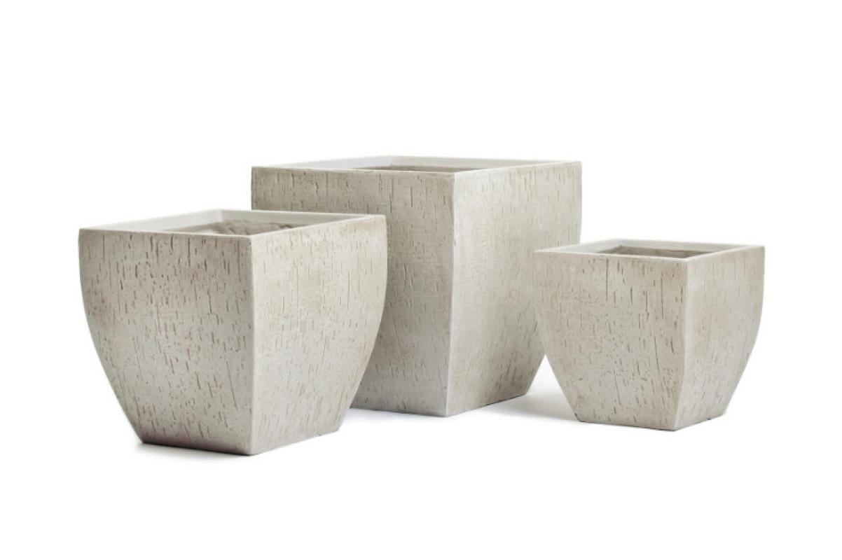 Кашпо Treez Ergo Cork трапеция-чаша белый песок 44 см