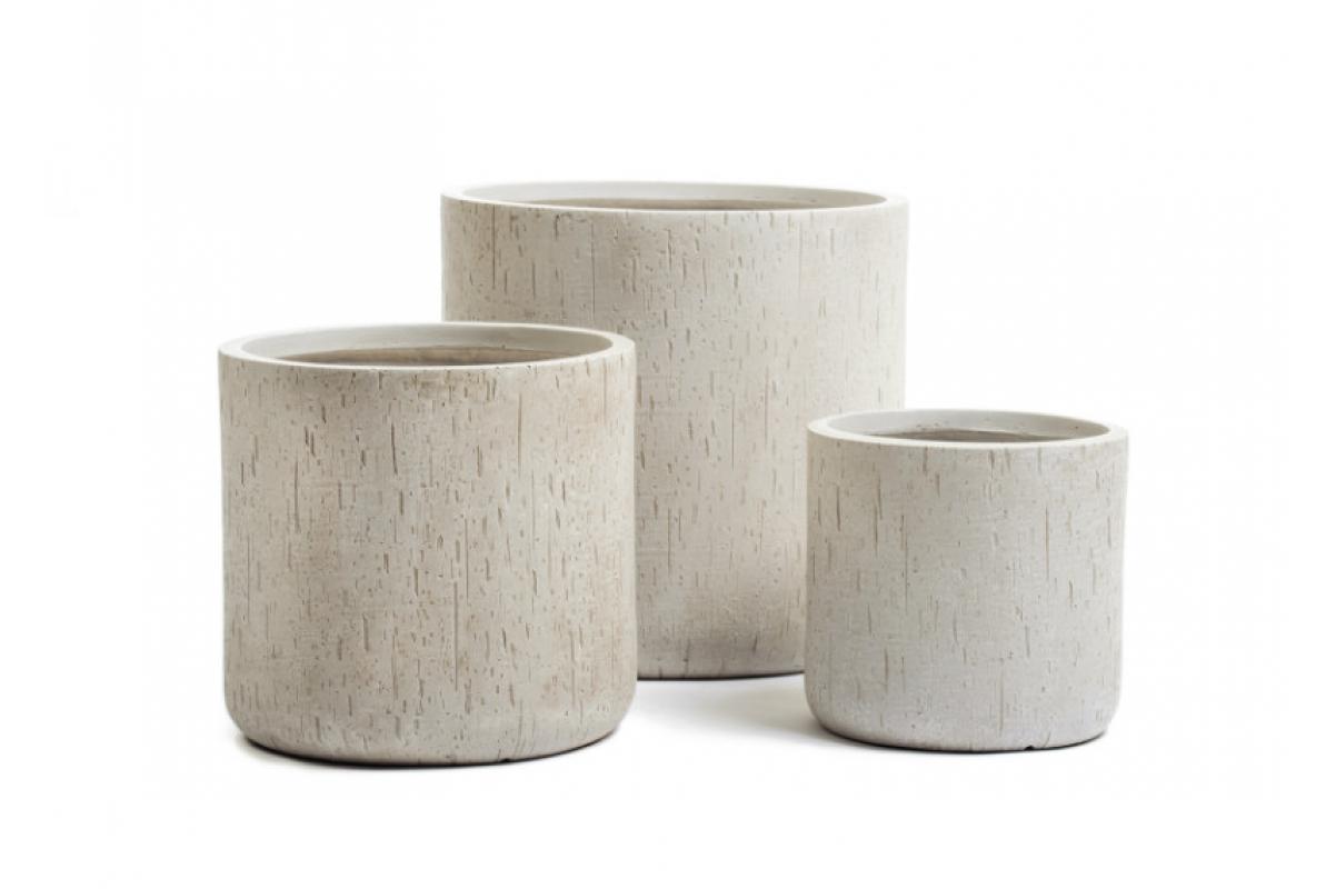 Кашпо Treez Ergo Cork цилиндр белый песок от 26 до 42 см