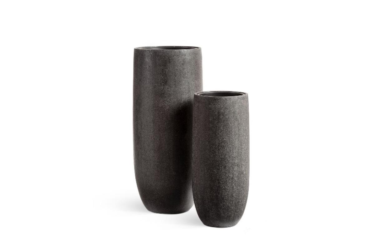 Кашпо Treez Effectory серия Stone высокий конус темно-серый от 72 до 95 см