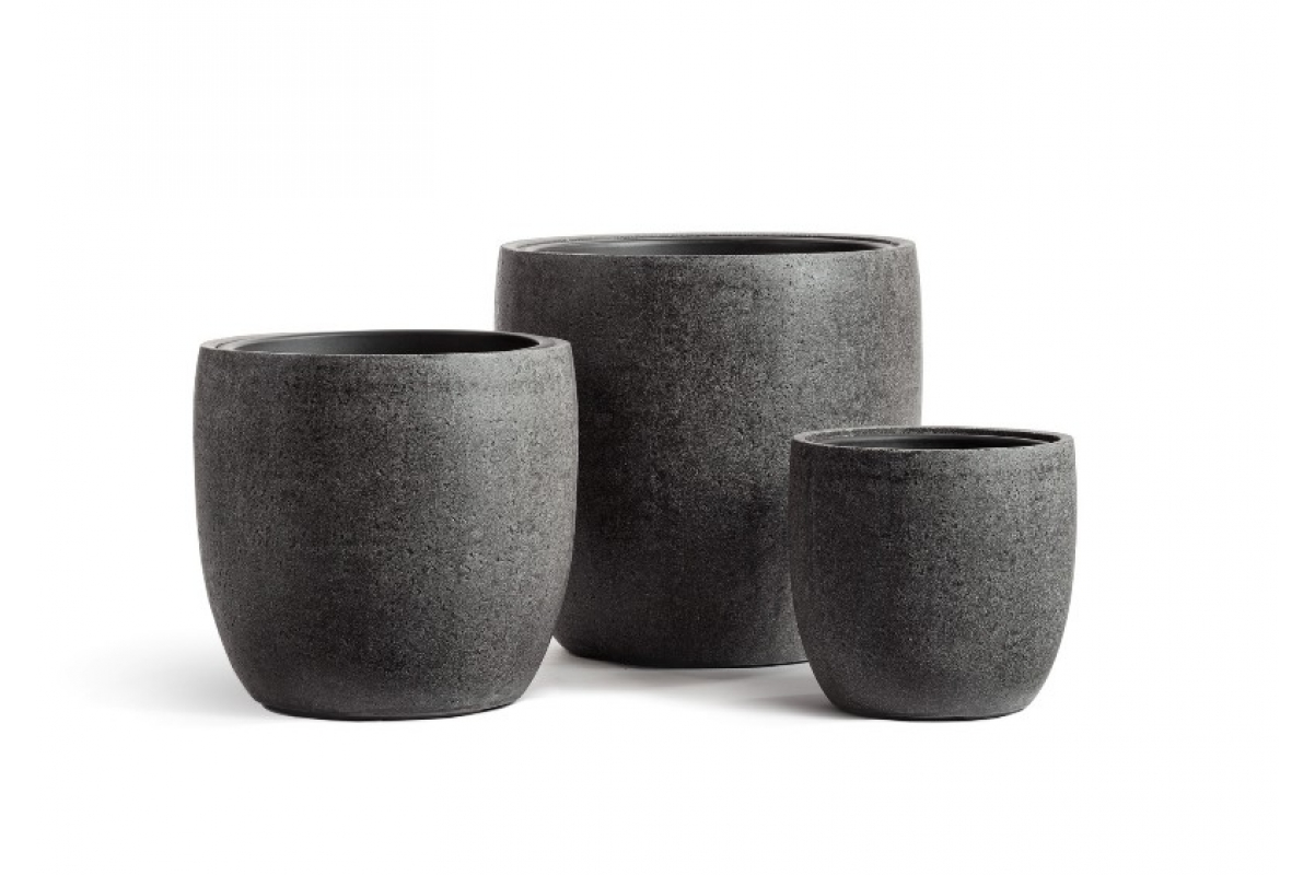 Кашпо Treez Effectory серия Stone округлый конус темно-серый от 30 до 49 см