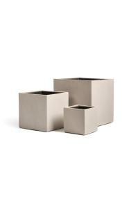 Кашпо Treez Effectory серия Beton куб белый песок от 20 до 40 см