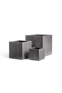 Кашпо Treez Effectory серия Beton куб темно-серый от 20 до 40 см
