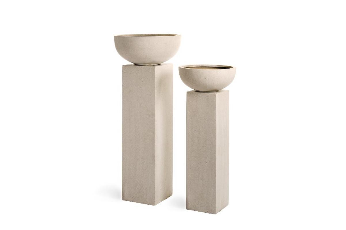 Кашпо Treez Effectory серия Beton низкая чаша белый песок от 50 до 74 см - Фото 2