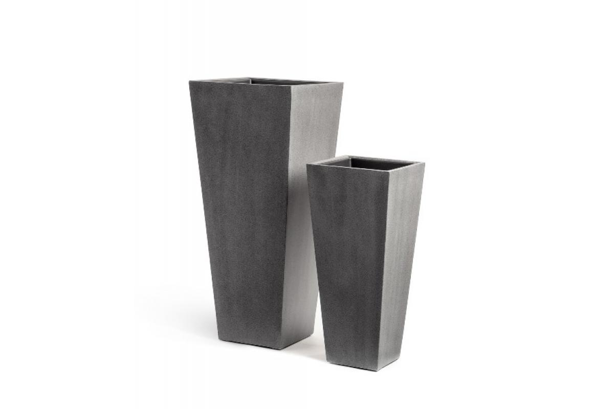 Кашпо Treez Effectory серия Beton высокая трапеция темно-серый от 67 до 90 см
