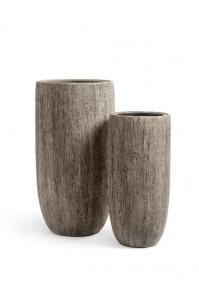 Кашпо Treez Effectory серия Wood высокий округлый конус белый дуб от 65 до 80 см