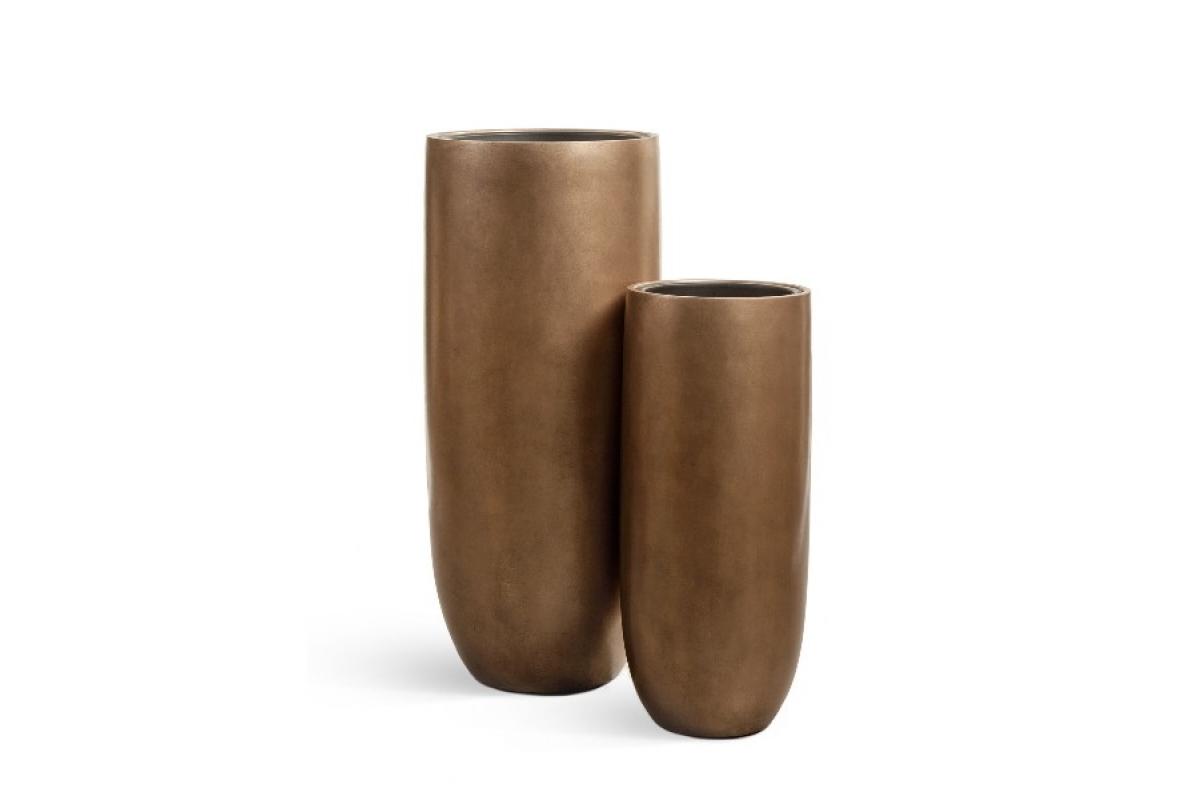 Кашпо Treez Effectory Metall высокий округлый конус темное-золото от 72 до 95 см