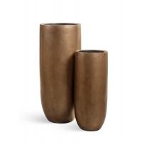 Кашпо Treez Effectory серия Metall высокий округлый конус темное-золото от 72 до 95 см